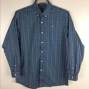 Vineyard Vines whale shirt. Blue plaid. Medium
